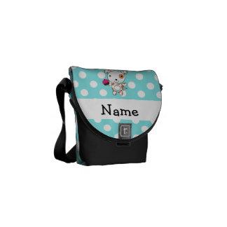 Personalized name dog cupcake blue polka dots messenger bag