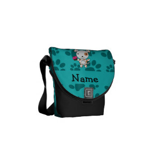 Personalized name dog cupcake turquoise paws messenger bags