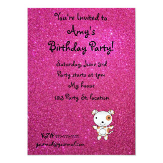 """Personalized name dog pink glitter 5.5"""" x 7.5"""" invitation card"""