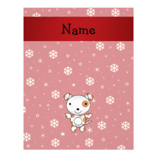 Personalized name dog red snowflakes flyers