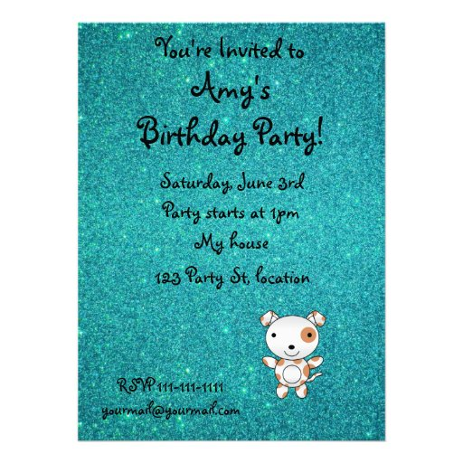 Personalized name dog turquoise glitter personalized invitation