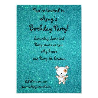 Personalized name dog turquoise glitter personalized invitation