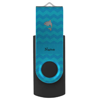 Personalized name dolphin blue chevrons swivel USB 2.0 flash drive