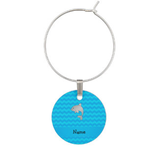 Personalized name dolphin blue chevrons wine charm