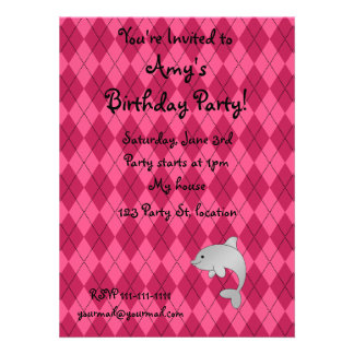 Personalized name dolphin pink argyle announcement