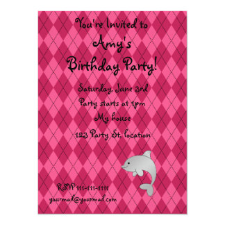 """Personalized name dolphin pink argyle 5.5"""" x 7.5"""" invitation card"""