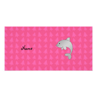 Personalized name dolphin pink christmas trees photo card