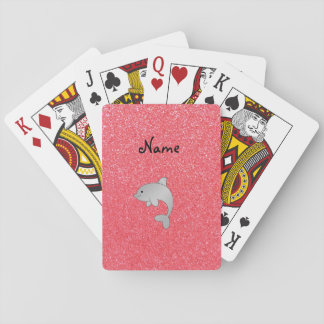 Personalized name dolphin pink glitter playing cards