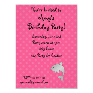 Personalized name dolphin pink polka dots 5.5x7.5 paper invitation card