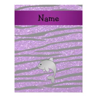 Personalized name dolphin purple zebra stripes flyers