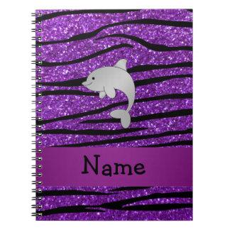 Personalized name dolphin purple zebra stripes notebook