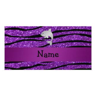 Personalized name dolphin purple zebra stripes picture card