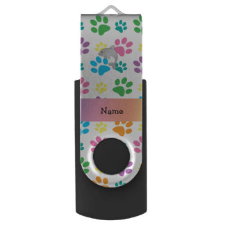 Personalized name dolphin rainbow paws swivel USB 2.0 flash drive