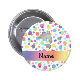 Personalized name dolphin rainbow polka dots 6 cm round badge