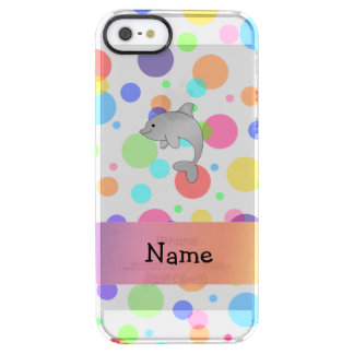 Personalized name dolphin rainbow polka dots uncommon clearly™ deflector iPhone 5 case