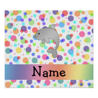 Personalized name dolphin rainbow polka dots poster