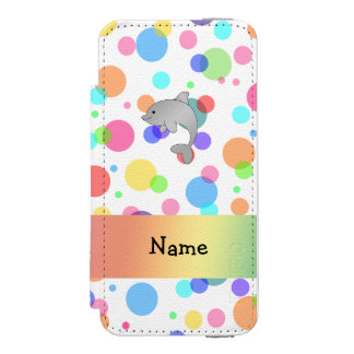 Personalized name dolphin rainbow polka dots incipio watson™ iPhone 5 wallet case