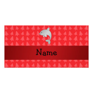 Personalized name dolphin red christmas trees personalized photo card