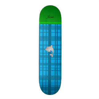Personalized name dolphin sky blue plaid skate deck