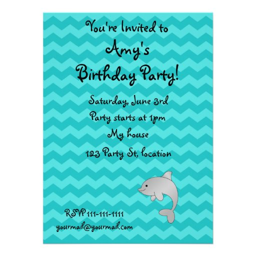 Personalized name dolphin turquoise chevrons invites
