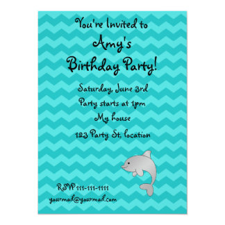 """Personalized name dolphin turquoise chevrons 5.5"""" x 7.5"""" invitation card"""