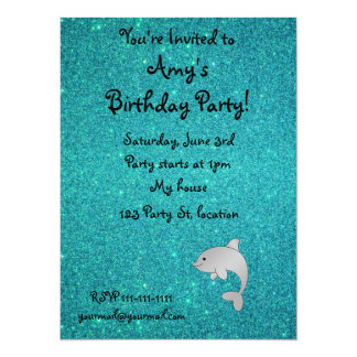 """Personalized name dolphin turquoise glitter 5.5"""" x 7.5"""" invitation card"""