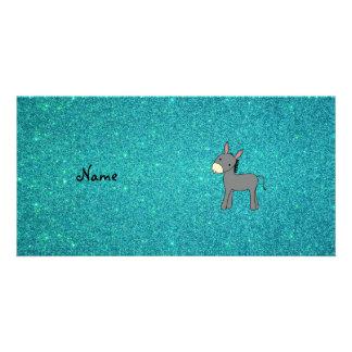 Personalized name donkey turquoise glitter personalised photo card