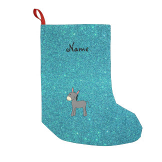 Personalized name donkey turquoise glitter small christmas stocking