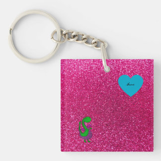 Personalized name dragon hot pink glitter keychains