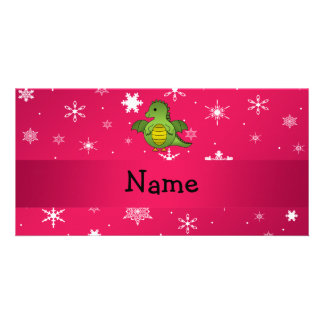 Personalized name dragon pink snowflakes photo cards