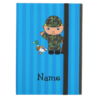 Personalized name duck hunter blue stripes iPad air cases