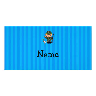 Personalized name duck hunter blue stripes photo card template