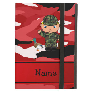 Personalized name duck hunter red camouflage iPad air cover