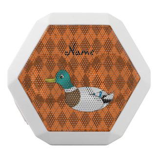 Personalized name duck orange argyle white boombot rex bluetooth speaker