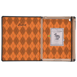Personalized name duck orange argyle cover for iPad