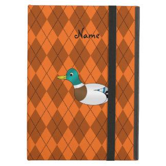 Personalized name duck orange argyle iPad covers