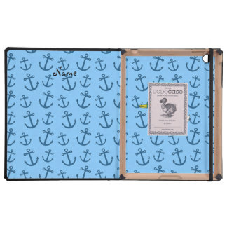 Personalized name duck pastel blue anchors case for iPad