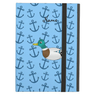 Personalized name duck pastel blue anchors iPad air covers