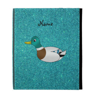 Personalized name duck turquoise glitter iPad case
