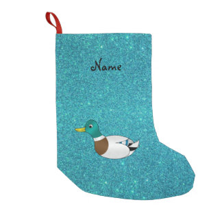 Personalized name duck turquoise glitter small christmas stocking