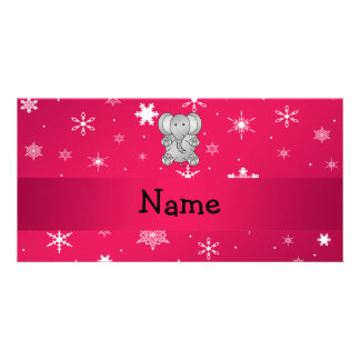 Personalized name elephant pink snowflakes photo card