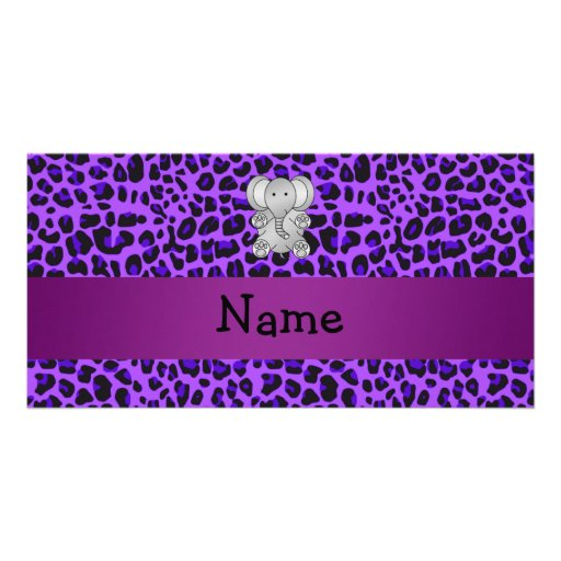 Personalized name elephant purple leopard print picture card