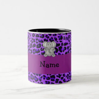 Personalized name elephant purple leopard print Two-Tone coffee mug
