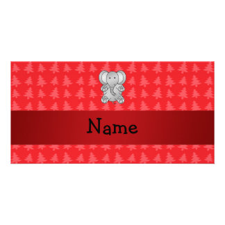 Personalized name elephant red christmas trees photo card template