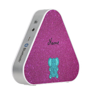 Personalized name elephant turquoise glitter
