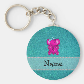 Personalized name elephant turquoise glitter keychains