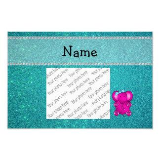 Personalized name elephant turquoise glitter photo