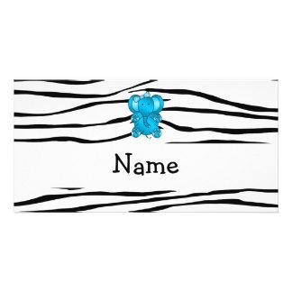 Personalized name elephant zebra stripes personalized photo card