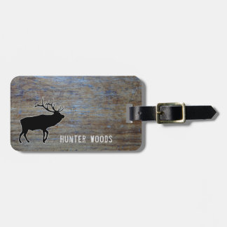 Personalized Name | Elk Rustic Wood Grain for Him Luggage Tag
