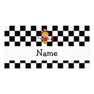 Personalized name fireman black and white checkers customised photo card